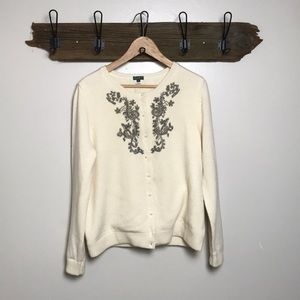 Eddie Bauer Cardigan Sweater Beaded Lambs Wool